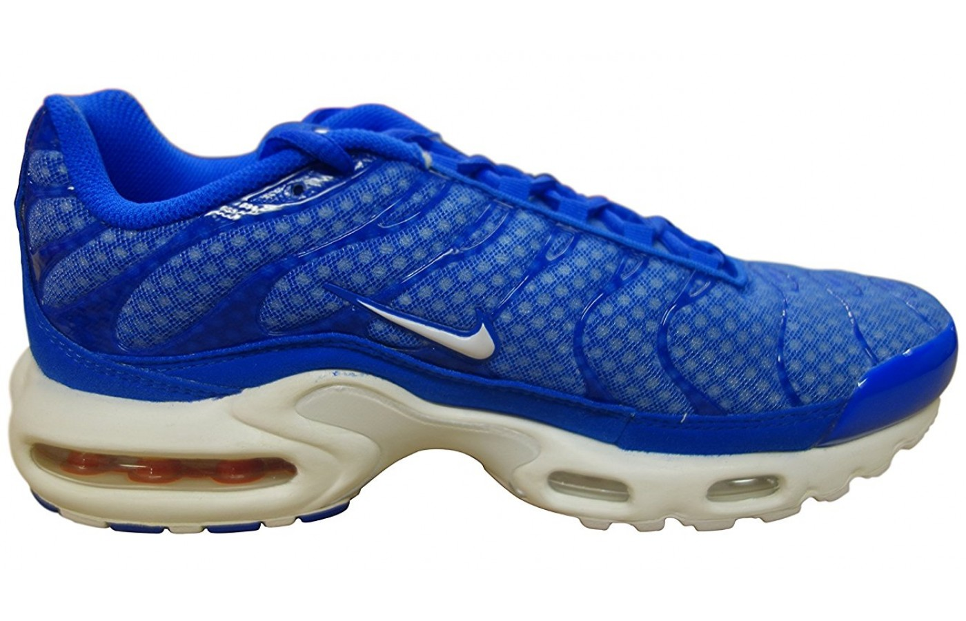 A side view of the Nike Air Max Plus shoe