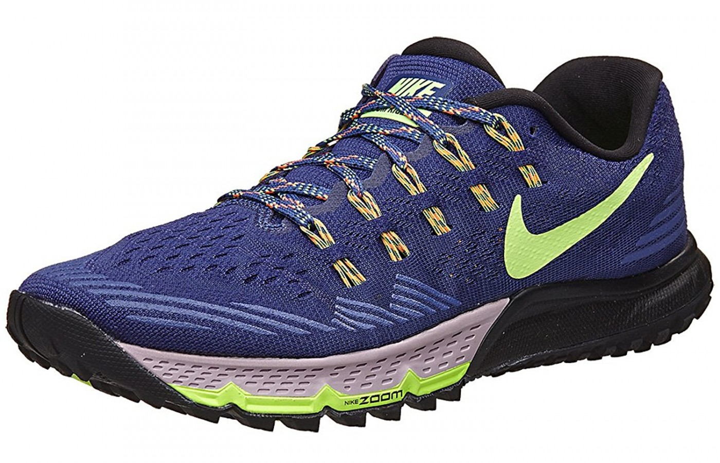 A three quarter view of the Nike Air Zoom Terra Kiger 3 Running Shoe
