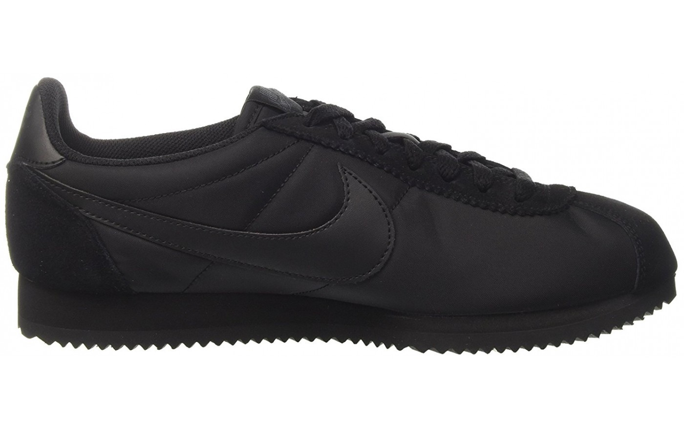 A black variation of the Nike Cortez in Nylon