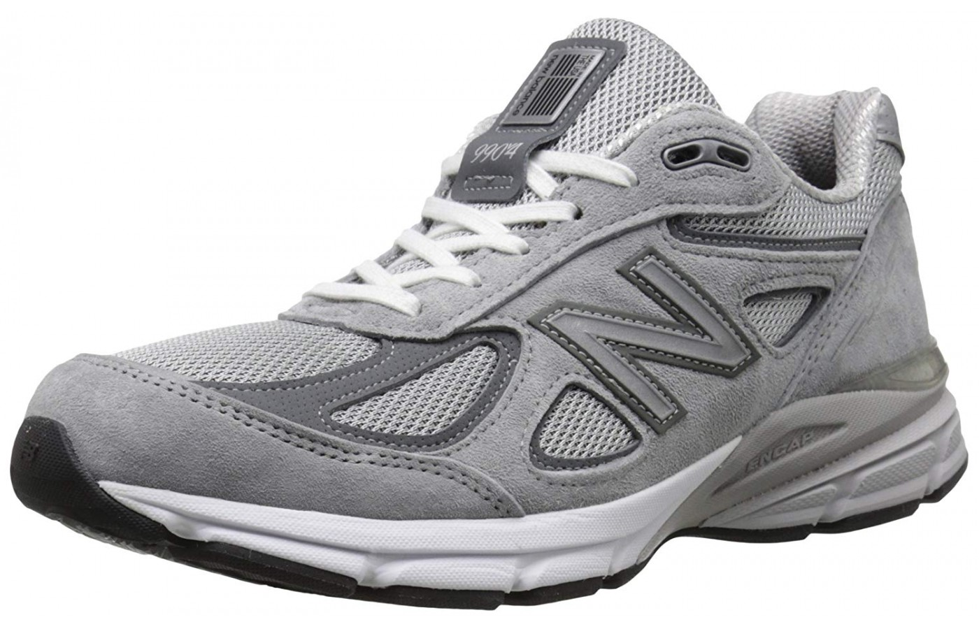 The New Balance 990v4 shown from the front/side view