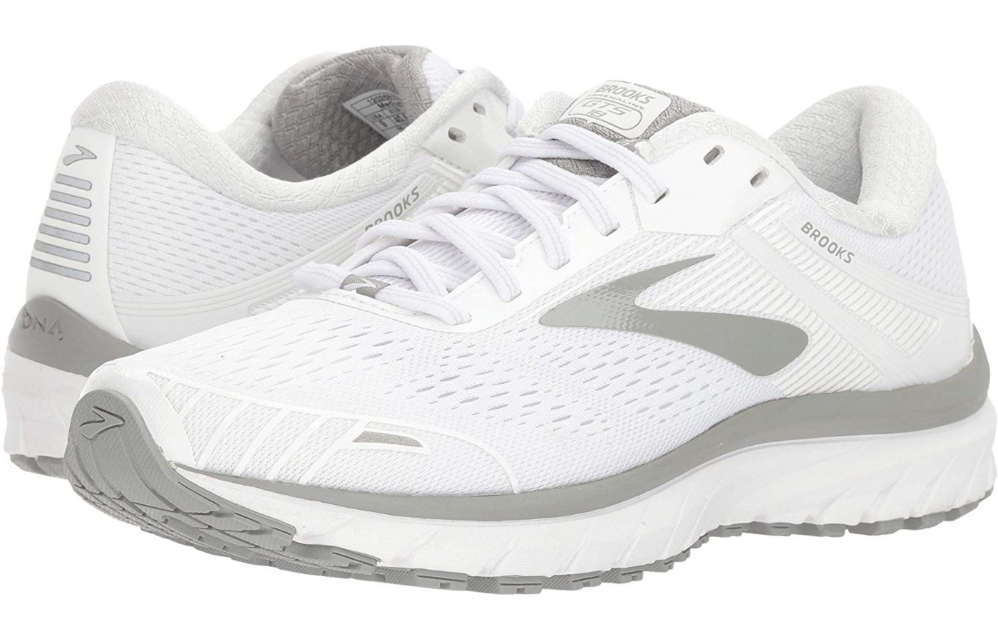 The white color variation of the Brooks Adrenaline GTS 18