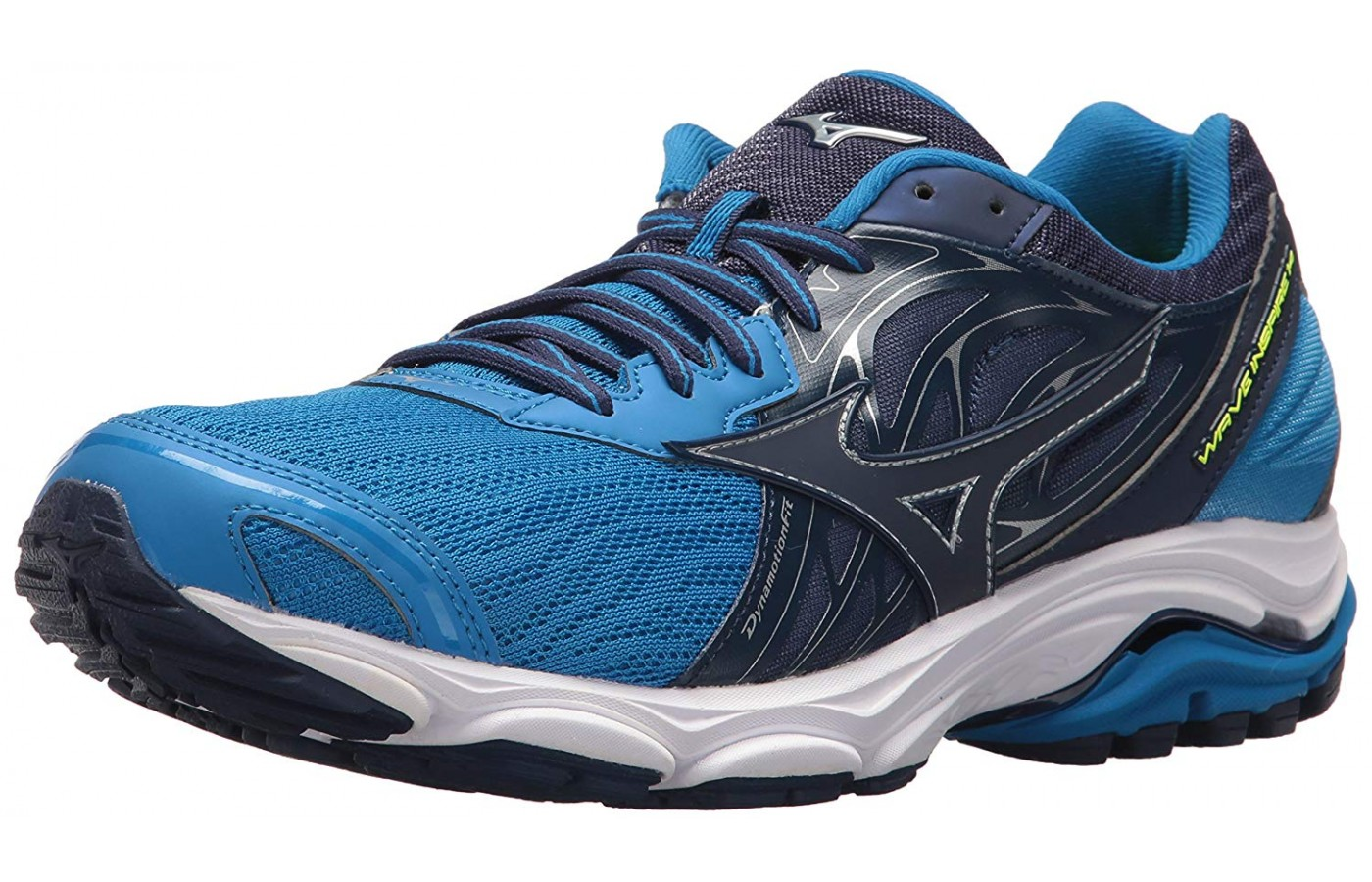 The Mizuno Wave Inspire 14 shown from the front/side view