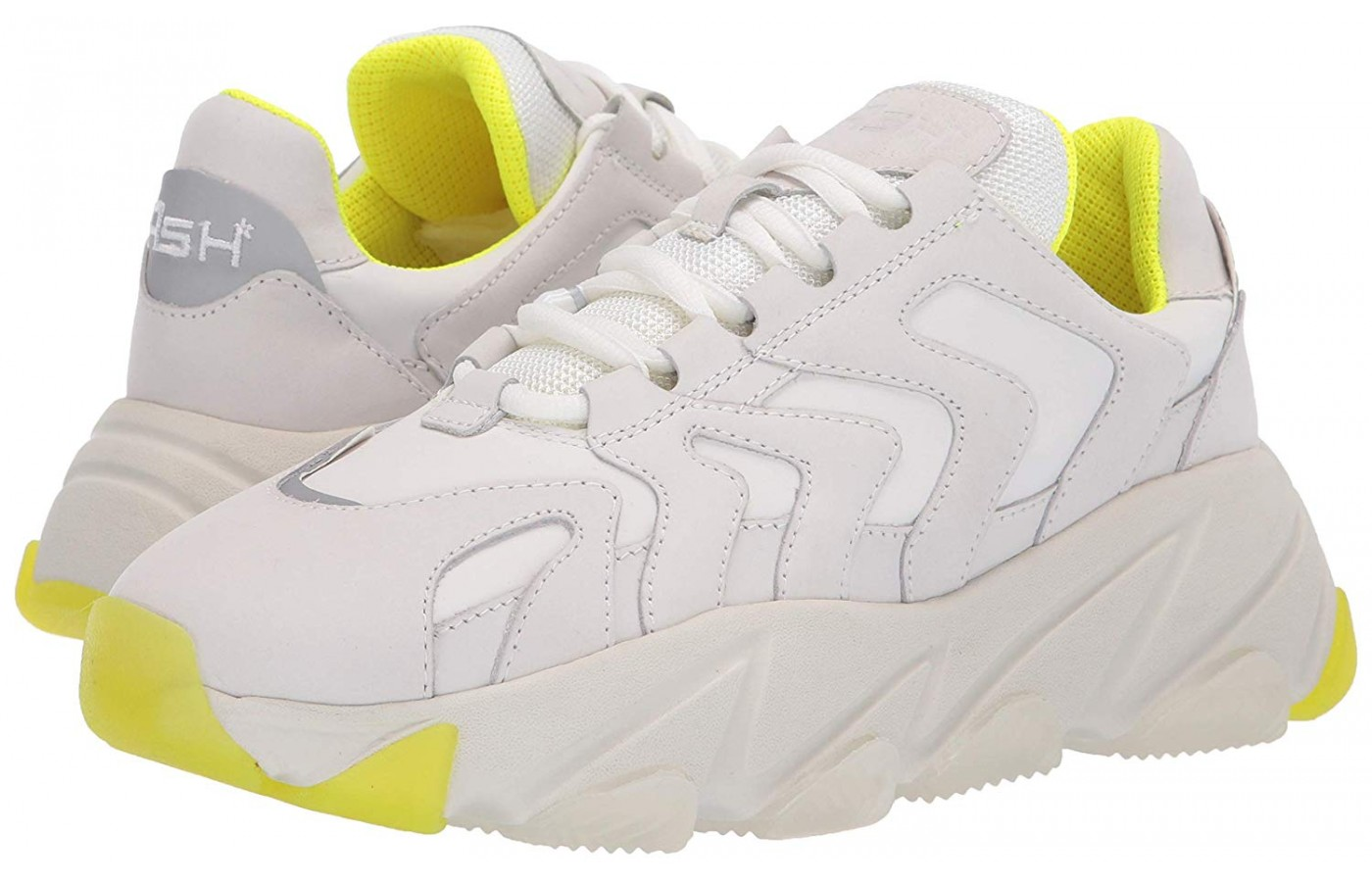 A pop of yellow accents this white pair of Extreme sneakers by Ash.