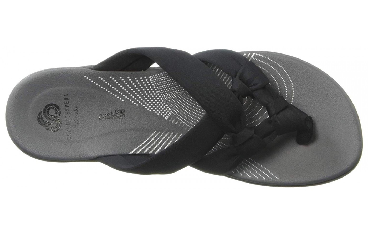 A knotted pattern on the upper makes this Clarks shoe unique.