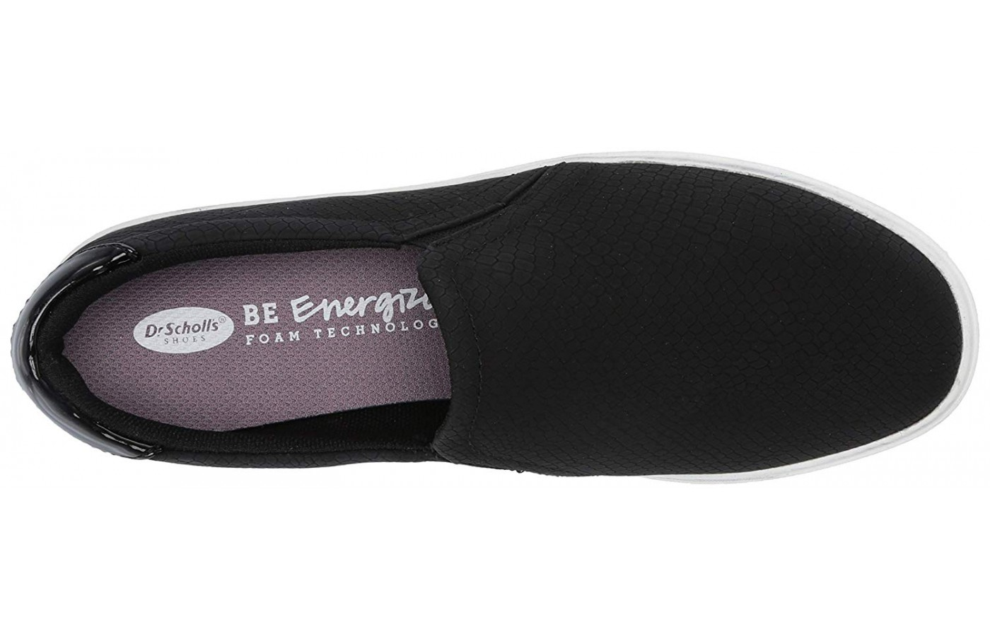 The Be Energized insole peaking out from this Dr. Scholl's slip-on.