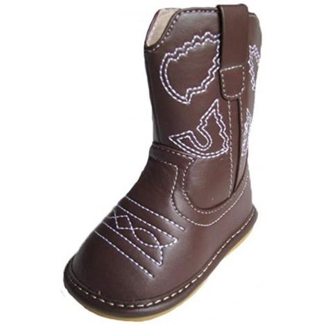 dark brown cowboy boot squaky shoes brown