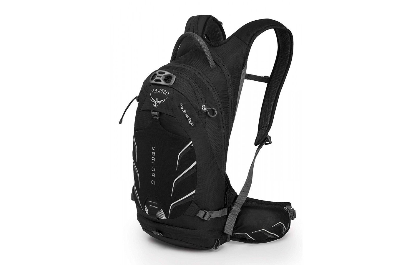 Compression straps are around the waist of this Osprey backpack.