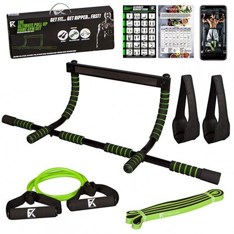 doorway pull up bar set in green Fitness Kings