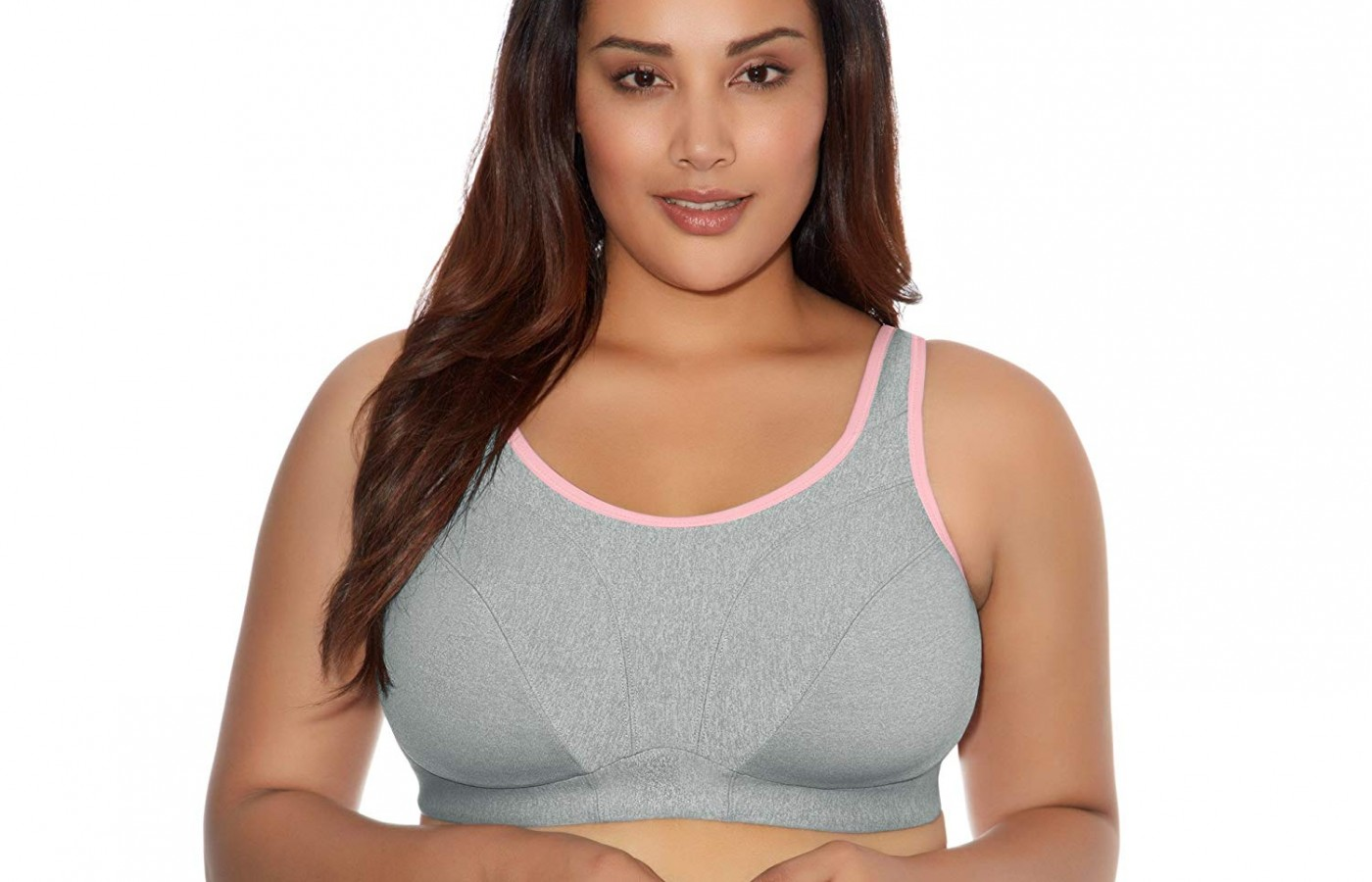 Goddess sports bra gray front