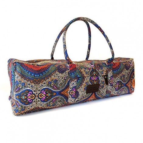 Kindfolk Yoga Mat Bag Carrier with Patterned Canvas with Pocket and Zipper