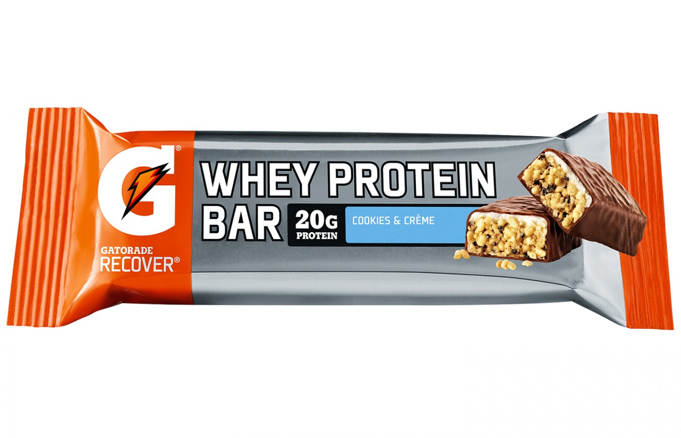 The Cookies and Creme flavor of Gatorade's Whey Protein Bar.