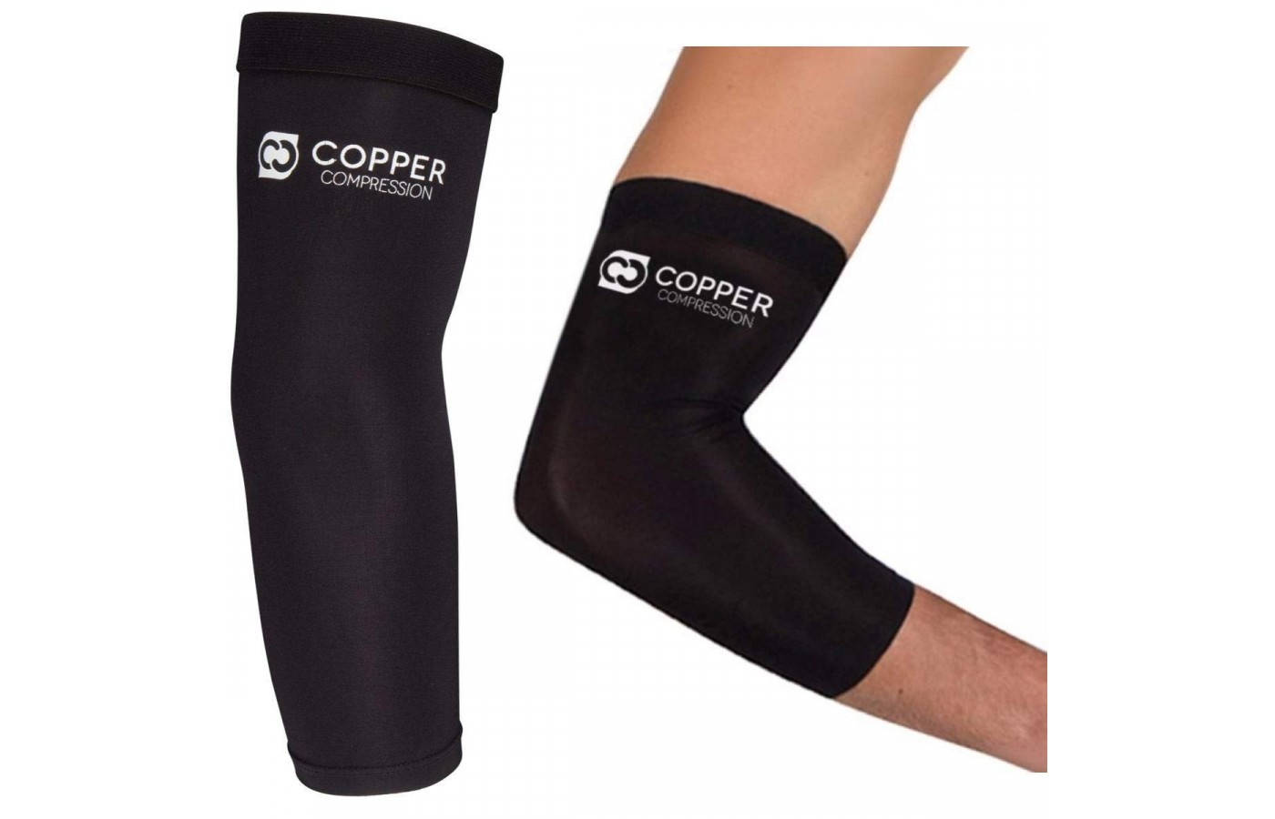 The longer style of the Copper Compression Elbow Sleeve provides more support.