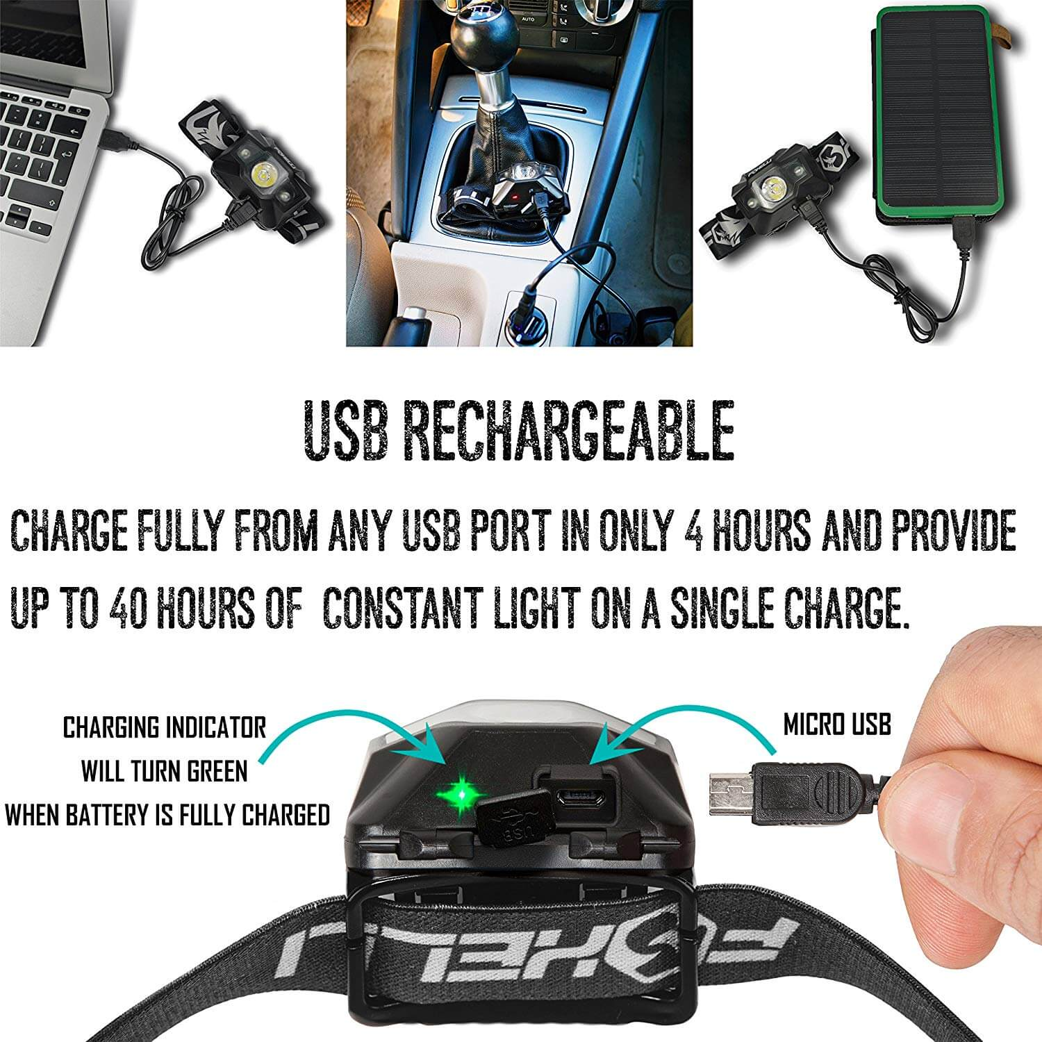 Foxelli Headlamp Charge