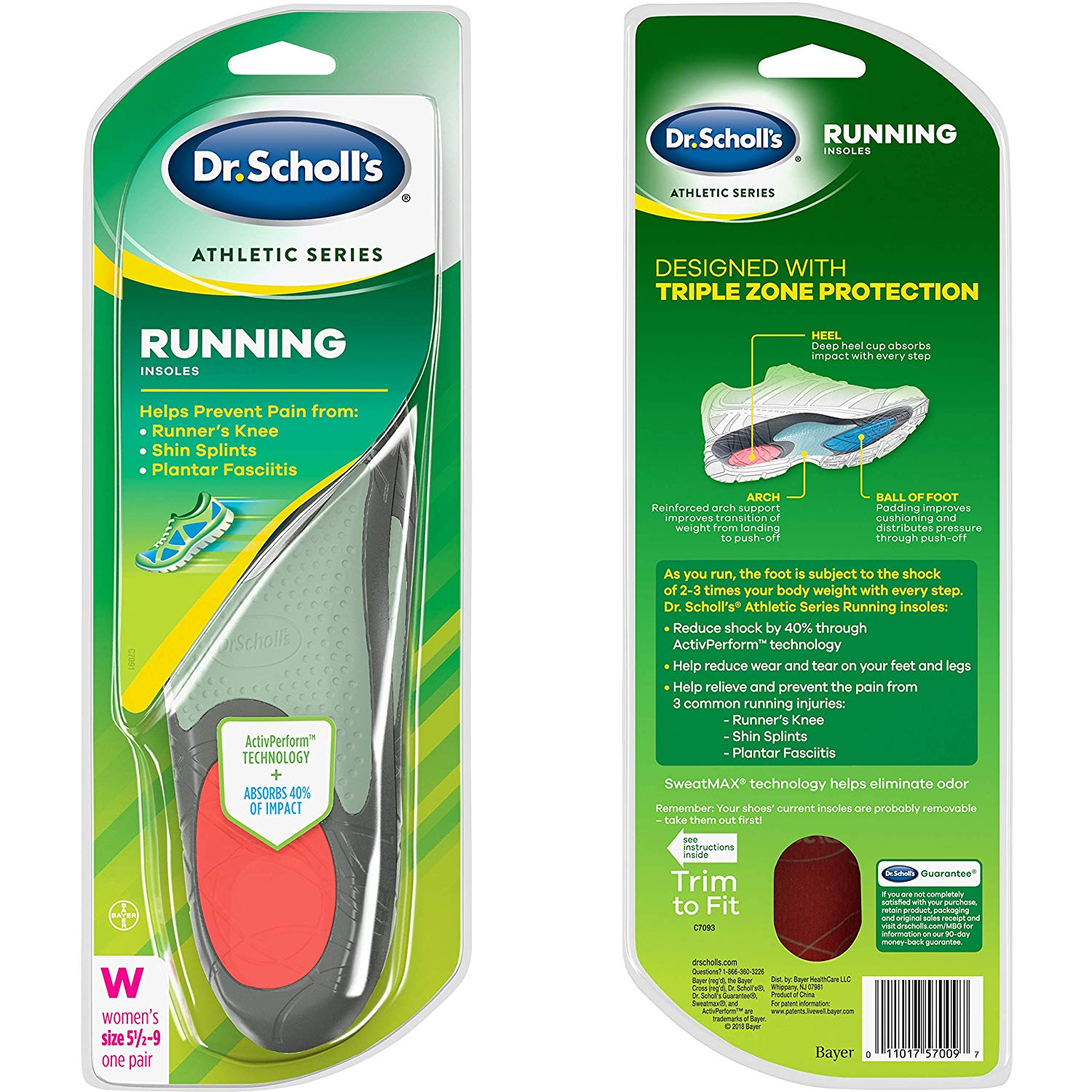 Dr. Scholl's RUNNING Insoles (Women's 5.5-9) Absorb Shock package only