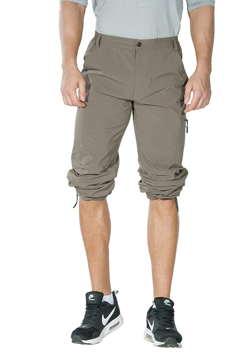 Unitop Men's Lightweight Hiking Cargo Pants rolled up