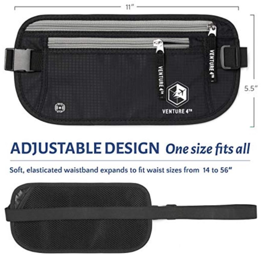 VENTURE 4TH RFID Safe Money Belt Adjustable Design