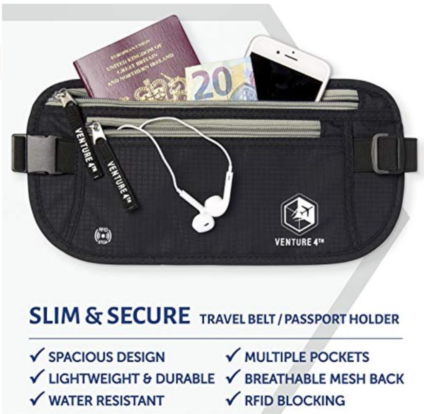 VENTURE 4TH RFID Safe Money Belt Slim & Secure
