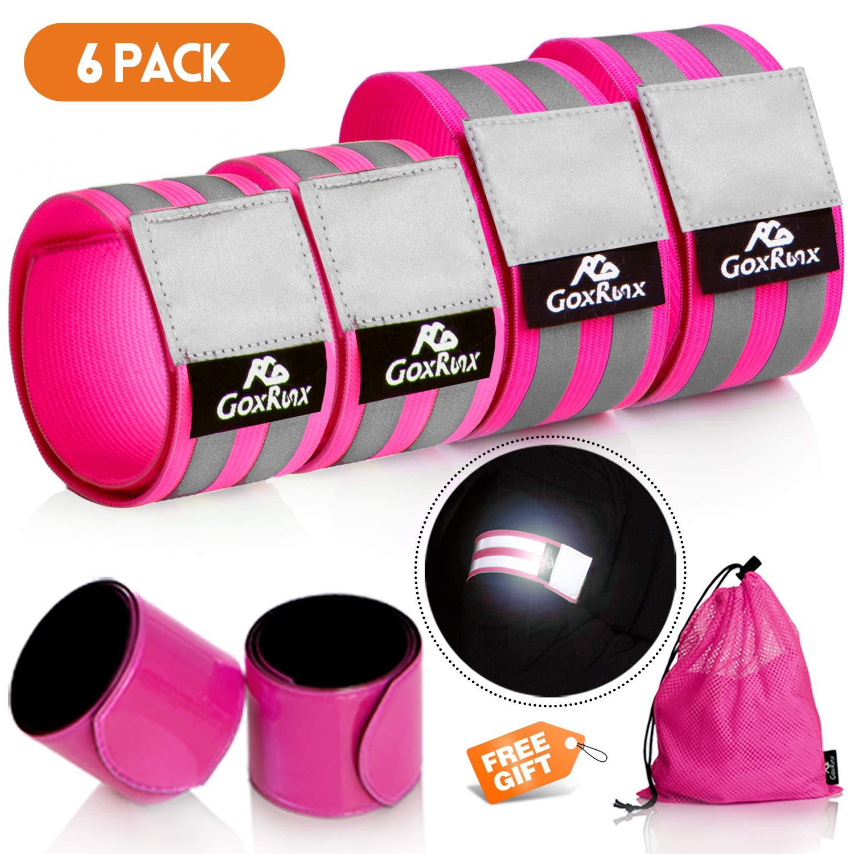 GoxRunx 6 Pcs Reflective Bands pink