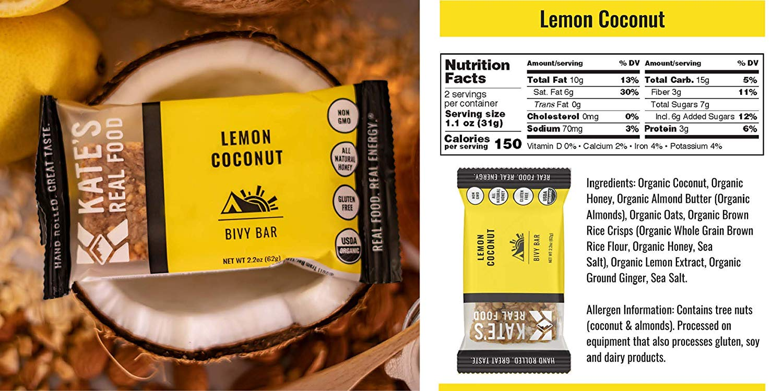 Kate's Real Food Granola Bars lemon coconut