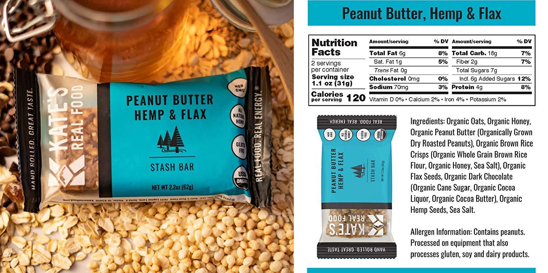 Kate's Real Food Granola Bars peanut butter hemp flax