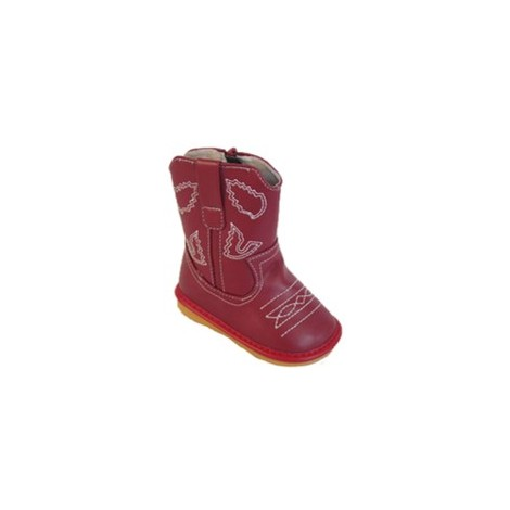 dark brown cowboy boot squaky shoes red