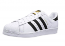 An angled view of the classic Adidas Superstar.