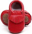 HONGTEYA Leather Tassel affordable hard bottom shoes for baby
