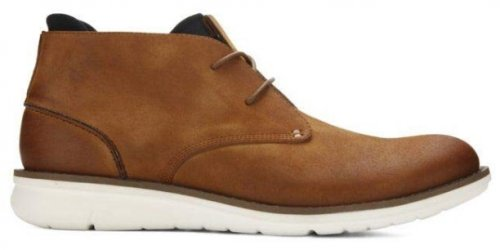 Kenneth Cole Casino Chukka light brown & tan boots side view