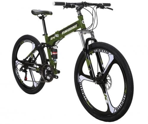 EUROBIKE Mountain Bike TSM G4 Bicycle 21 Speed 26 Inches Wheels Dual Suspension Folding Bike