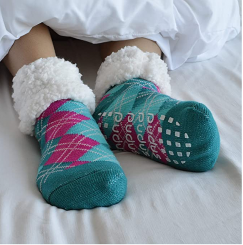 Pudus Cozy Winter Slipper Socks for Women and Men with Non-Slip Grippers