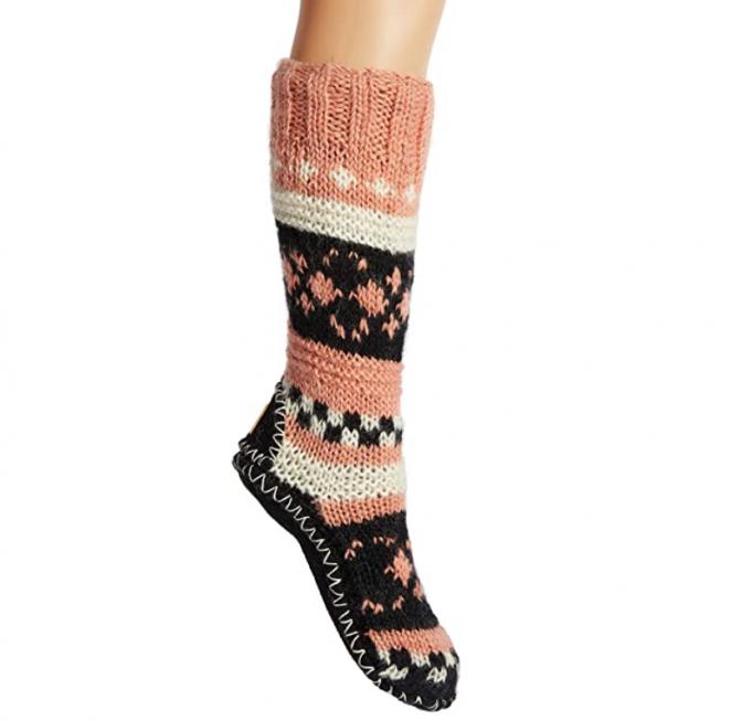 Tibetan Socks Hand Knit Wool Fleece Lined Long Slipper Socks
