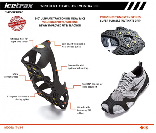 ICETRAX V3 Tungsten Winter Ice Grips for Shoes and Boots