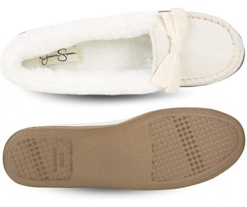 Jessica Simpson Women's Micro Suede Moccasin Indoor Slipper Shoes
