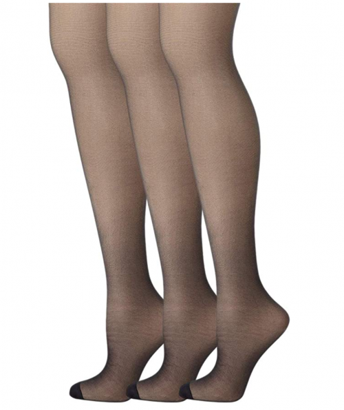 Hanes Womens Set of 3 Silk Reflections Control Top RT Pantyhose