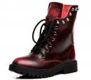 Shenn Women's Round Toe Mid Calf Punk Military Combat Boots